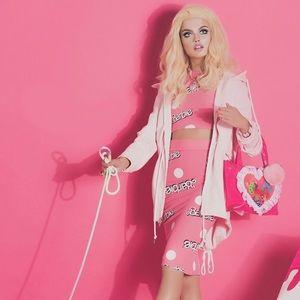 Wildfox Pink Barbie Print Midi Skirt Set S/M